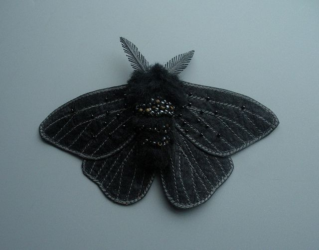Textile Peppered Moth in black- embroidered moth | Flickr - Photo Sharing!