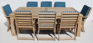 9 Piece Solid Teak Patio Suite  consisting out of a large teak table size: 2400 L x 1200 W x 800 H + 8 chairs with cushions size per chair: 610 L x 420 W x 980 H all in good condition @R10000 for the whole suite Call 0767064700