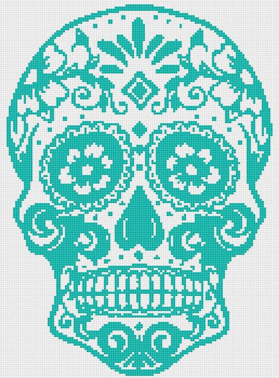 Title: Sugar Skull - pop art cross stitch  Dimension: Suggested Fabric: ~~14 ct. aida  Stitches: Grid Size:~~~~~~~~~~129W x 175H Design Area: