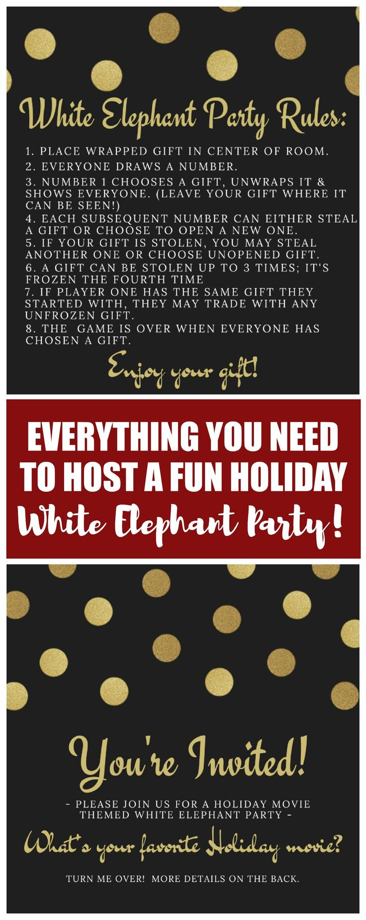 These ideas about how to host a Holiday White Elephant Party are incredibly simple and easy to pull together. Plus, everything you need is there from the printable invitations and rules to the food and decor ideas. LOVE!