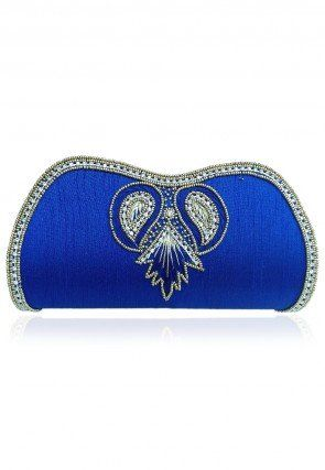 Embroidered Art Silk Clutch Bag in Royal Blue