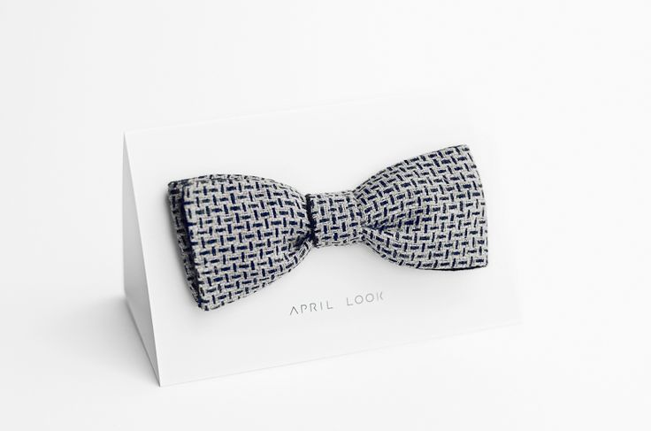 Grey bow tie, natural linen bow tie - double sided w APRIL LOOK na DaWanda.com