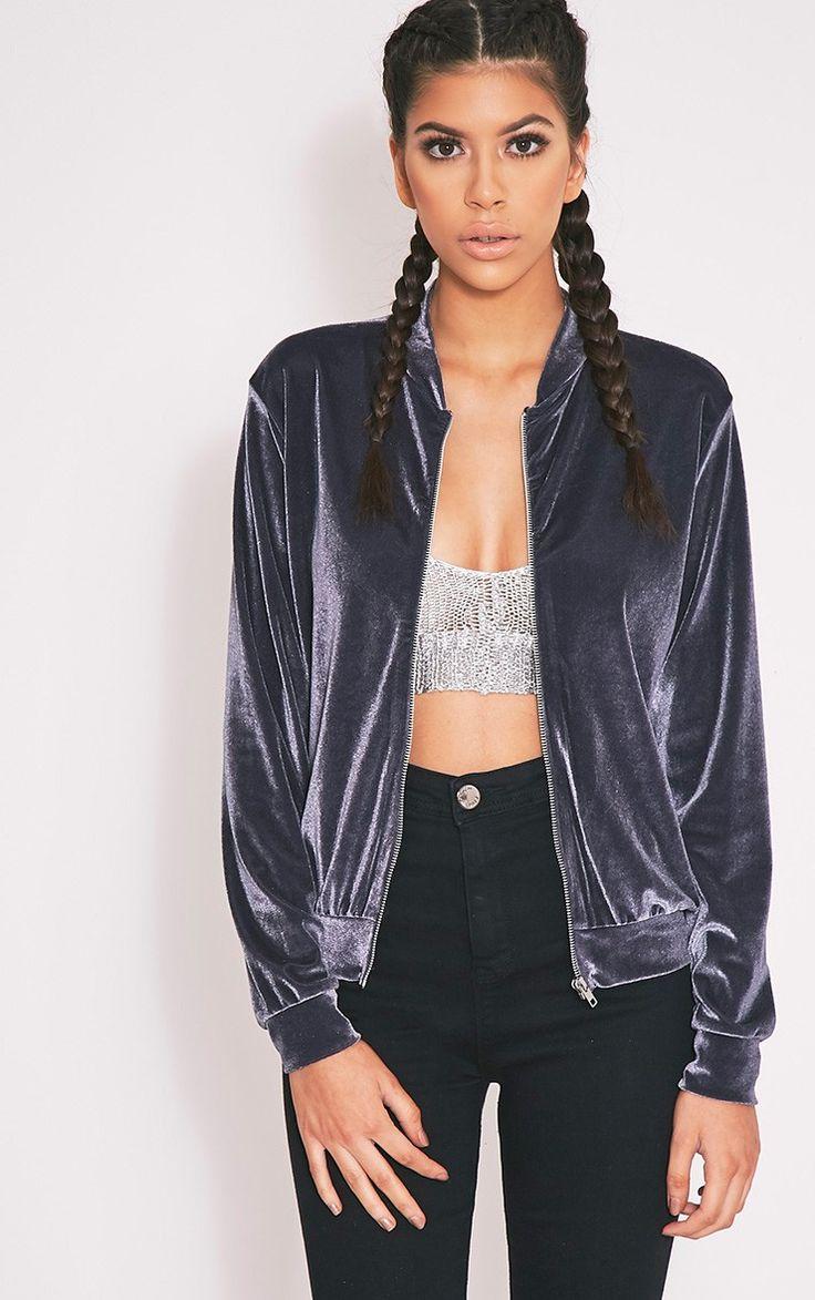 Samirah Grey Velvet Bomber Jacket - Coats & Jackets - PrettylittleThing…