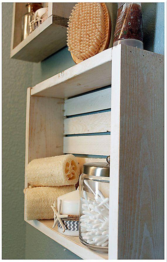 White Nautical Beach Shelf Bathroom Shelf Beach Crate