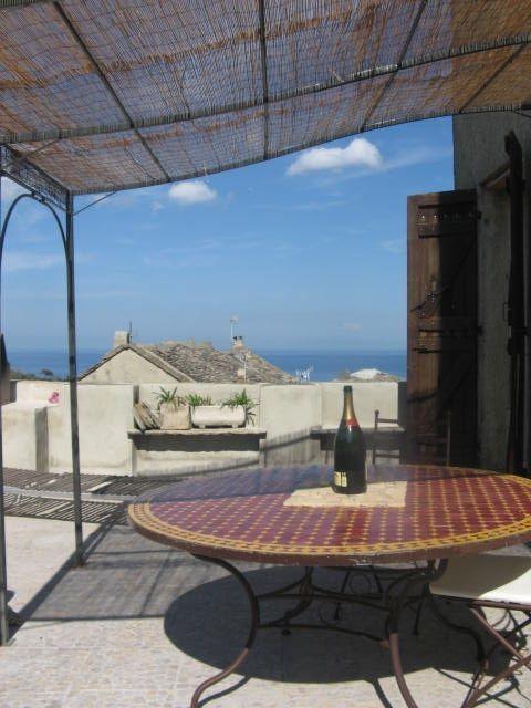 Brando house rental Erbalunga Corsica - Terrace with sea view