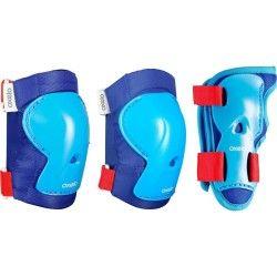 Set 3 protecciones roller skateboard patinete niños PLAY azul rojo