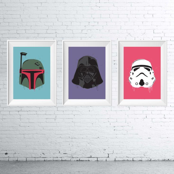 Star Wars - Trio Collection of 3 - Boba Fett, Darth Vader, Stormtrooper star wars, art, design, illustration, poster, print, pop art by BonesAndInk on Etsy