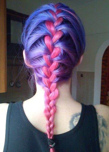 colored hair: French Braids, Braids Hairstyles, Purple Hair, Hair Colors, Pink Hair, Blue Hair, Colors Combinations, Colour Hair, Colors Hair