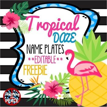 "**Freebie for your tropical classroom*** Two pineapple themed name plate designs(size: 9 3/4"" x 2 7/8""). Plus, you can add your own text! There is also an option to print names on both sides and make a table tent name plate. Included is a pdf file which you will only be able to print."