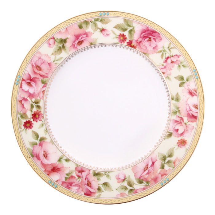 Features:  -Dishwasher safe.  -Diameter: 9''.  -Bone china construction.  -Hertford collection.  Color: -White.  Material: -Porcelain China.  Pattern: -Flower and plant/Gold band.  --Hertford features