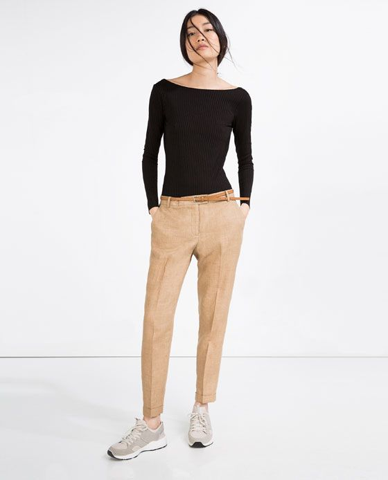 $49.90 ZARA - WOMAN - LINEN TROUSERS WITH BELT