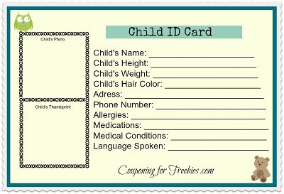 Free Printable Child Id Card Template Basic First Aid Supplies