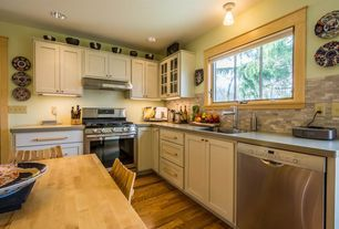 Transitional Kitchen with Meridian Gray Quartz Countertop, Shaker Recessed Panel Cabinets