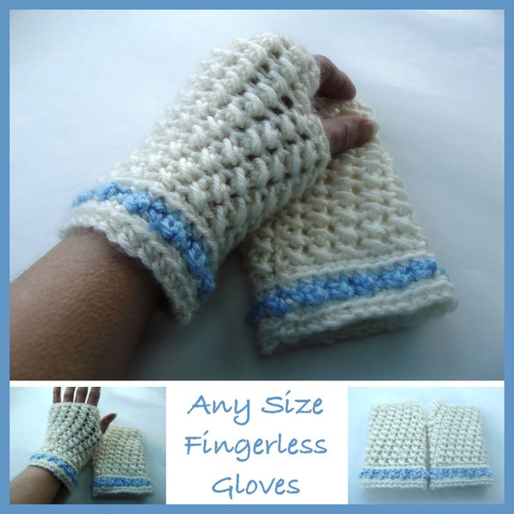 Free Crochet Patterns For Young Adults : Any Size Fingerless Gloves ~ FREE Crochet Pattern ...