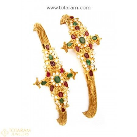 22K Gold Kada with Cz , Ruby & Emerald - Set of 2 (1 Pair) - 235-GK516 - Buy this Latest Indian Gold Jewelry Design in 41.200 Grams for a low price of  $2,361.80