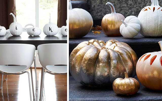 Decoración de Halloween con calabazas blancas