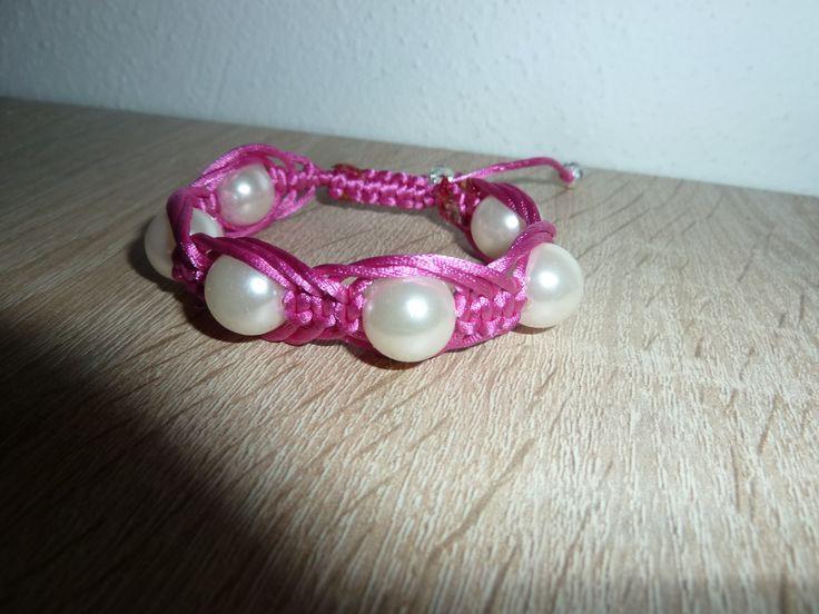 perlovo-růžový náramek