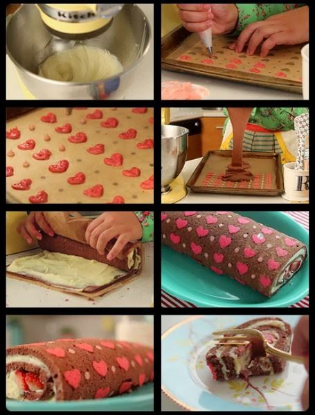 This heart patterned Swiss Roll is sure to be a hit!