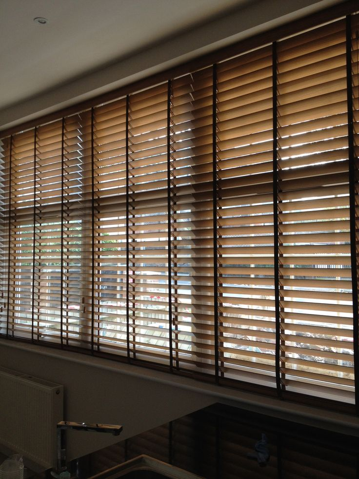 63mm slat Wood #Venetian #Blinds In beautiful teak colour with tapes
