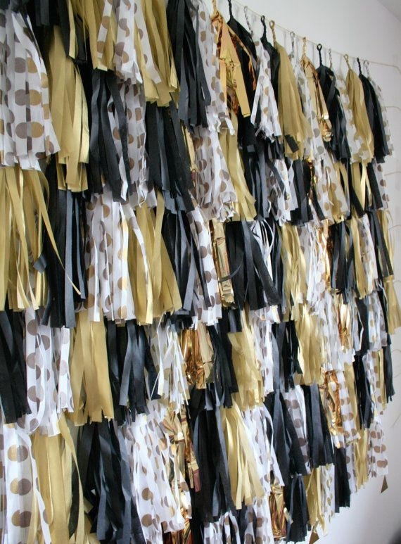 New Years Eve Decoration Gold Black White Tassel by pomtree