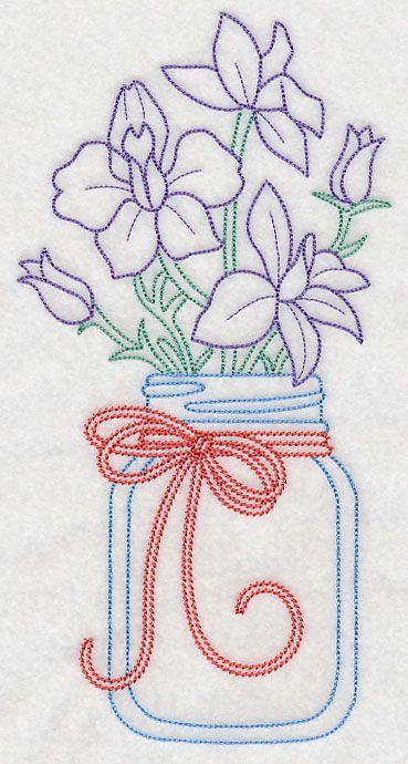 Blooming Larkspurs in Mason Jar (Vintage) design (L9403) from www.Emblibrary.com