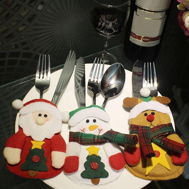 3 unids Navidad Santa Claus Bolsa de Vajilla Cuchillo Tenedor Vajilla Cubiertos Titular de Navidad Año Nuevo Bolsillo de la Decoración de Navidad