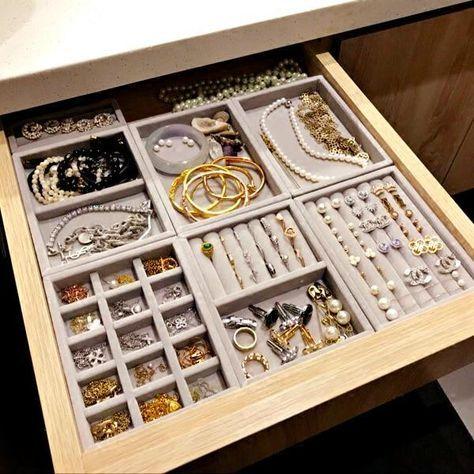 New Diy Jewelry Drawer Organization Velvet Storage Trays