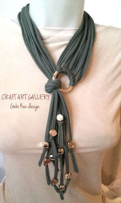 Awesome!! Necklace, t-shirt yarn March is Craft Month! Craft up your old tees an…
