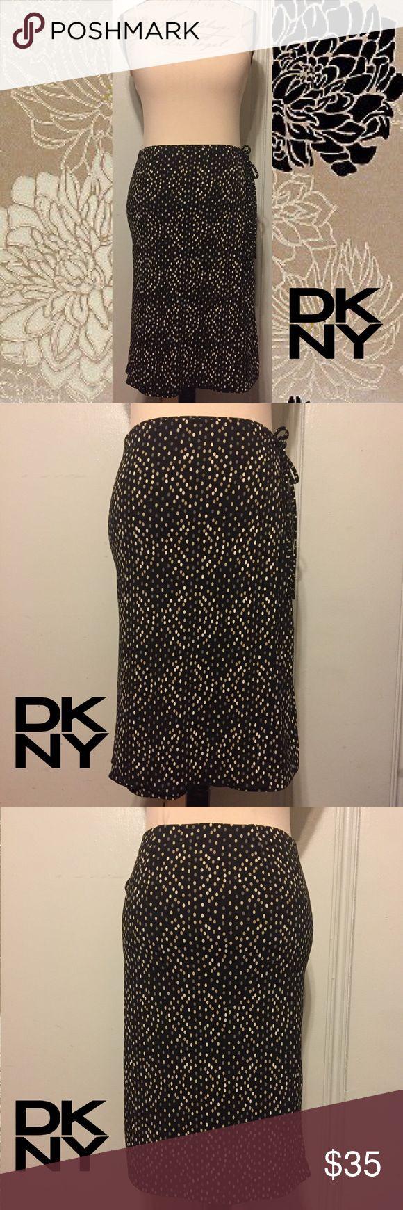 "DKNY Classy Black/Cream Polka Dots Wrap Skirt SIZE S. 23"" Length. 15"" Waist. Stretchy Wrap Skirt. Side Tie. Black w Cream, Sepia & Mocha Polka Dots. 100% Polyester. NWOT DKNY Skirts Midi"