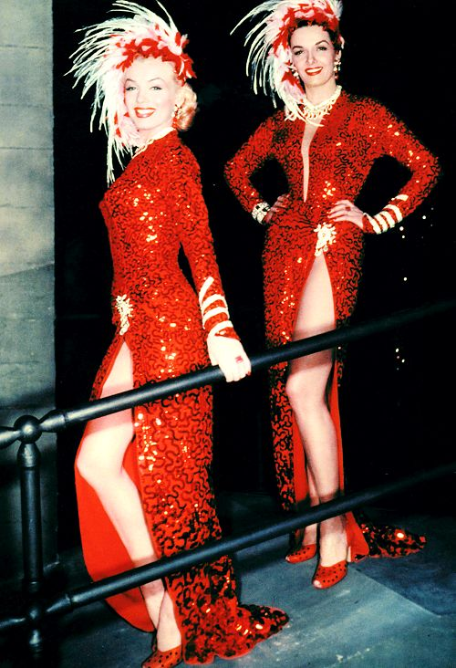Marilyn Monroe and Jane Russell on the set of Gentlemen Prefer Blondes (1953):