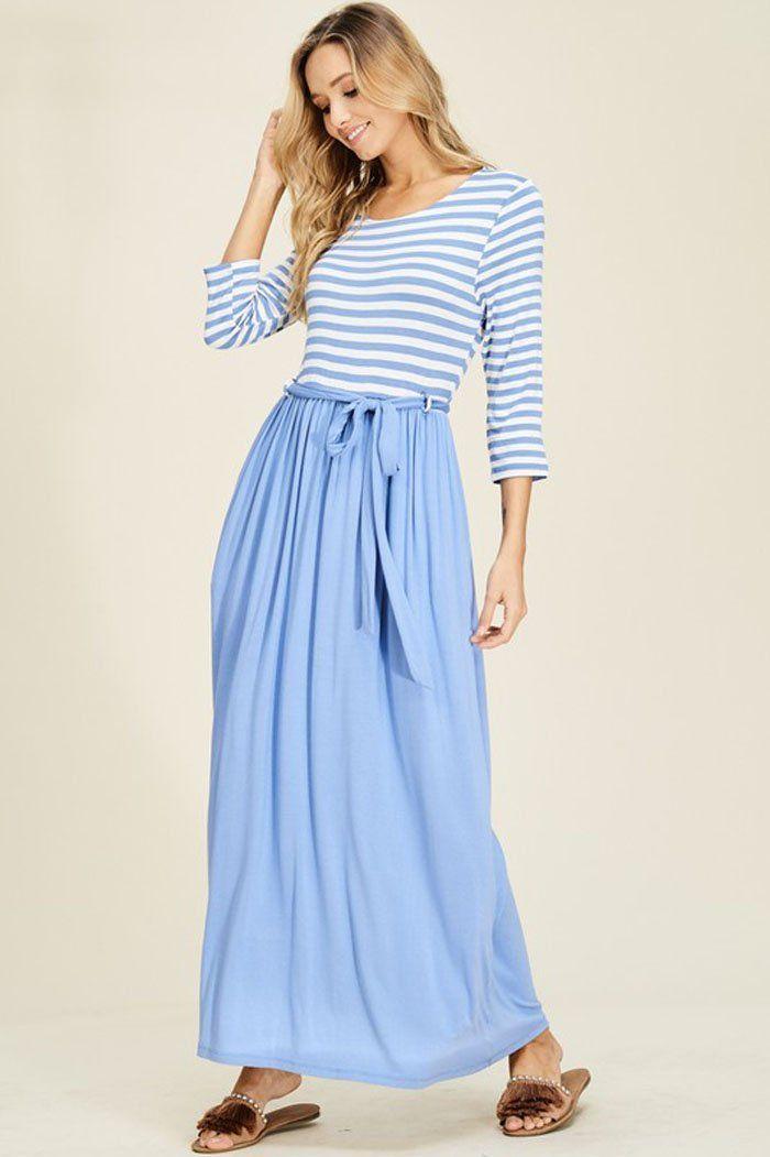 6c998f93b14 Melanie Contrast Maxi Dress   Chambray – GOZON Boutique