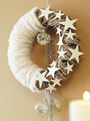 I am all about wreaths this year.  This one is a little bit of everything.