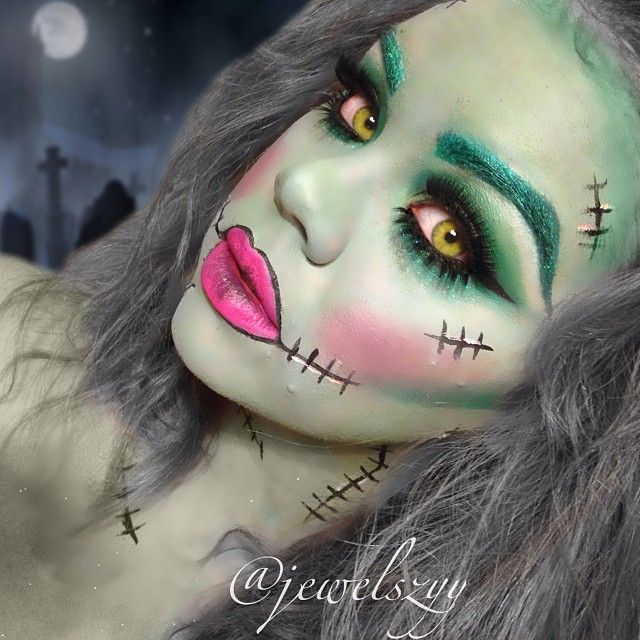 My recreation of @chrisspy 's Frankenstein chick  Halloween paint on my face in green white and blue. For my eyes I used @anastasiabeverlyhills lavish palette and the noir black waterproof liner. I also used my 120 color palette. @trueorfalselashes in medusa for top and twiggy for bottom. @eyekandycosmetics glitter in spearmint on eyebrows and all over face (can't see it too great) Lips are candy yum yum with black liner in the center and outer edge!!    Everyone please help me out and...