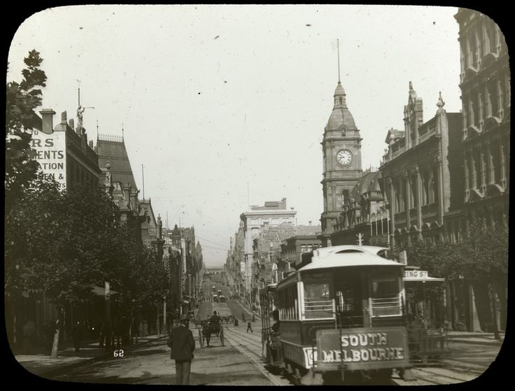 Collins Street, Melbourne, with cable trams, c1900-10. Photograph courtesy State Library Victoria.