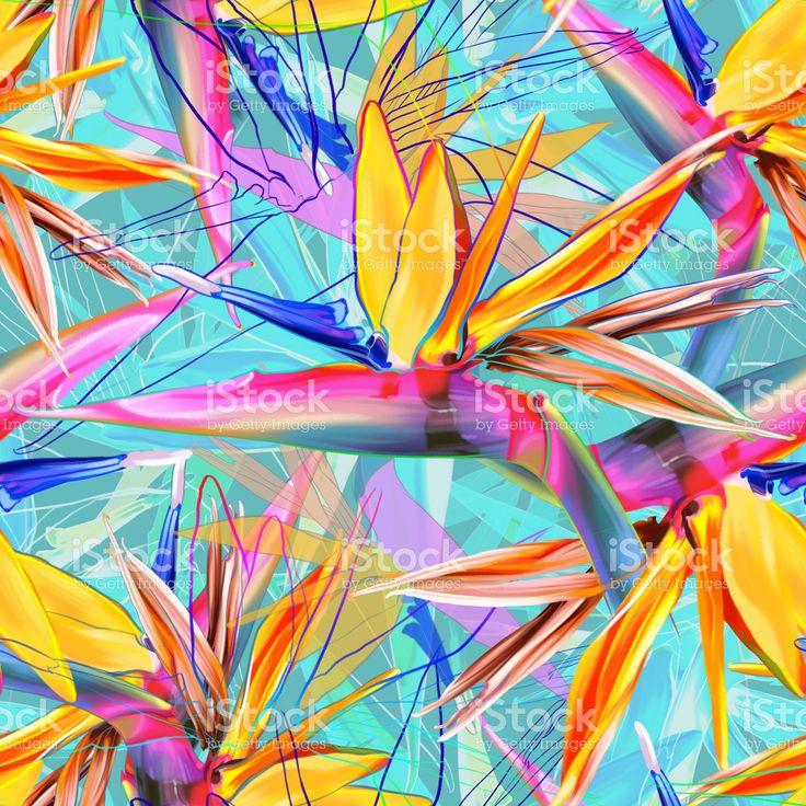 Seamless tropical pattern with strelitzia stock illustration 102404437 - iStock