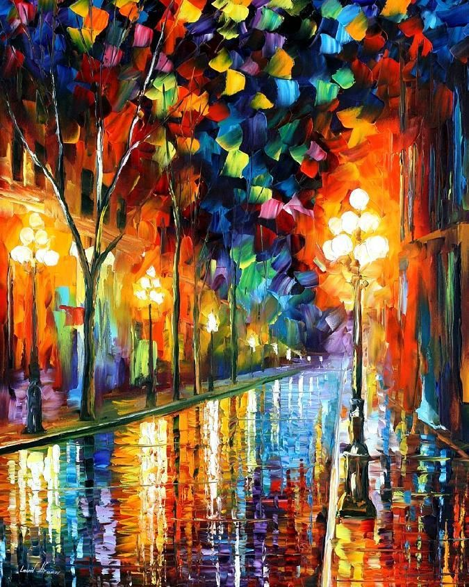 Art Title: BEFORE MORNING Artist- Leonid Afremov. His paintings are just a mouthful of colors! Beautiful!
