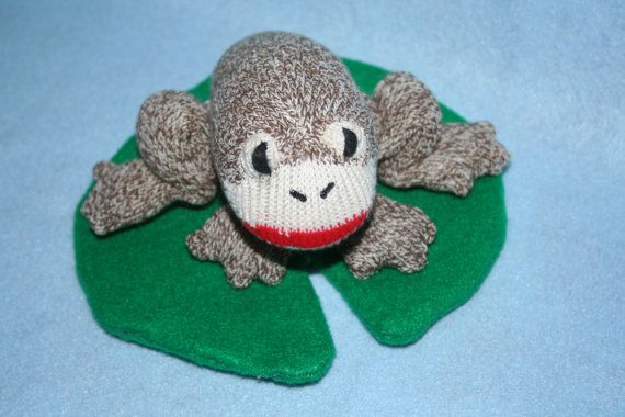 Handcrafted Miniature Sock Monkey FROG with lilypad