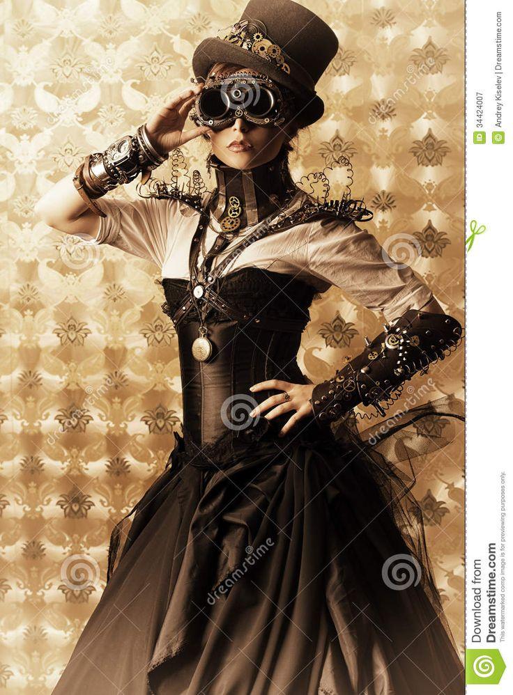 dress-steam-portrait-beautiful-steampunk-woman-over-vintage-background-34424007.jpg (958×1300)