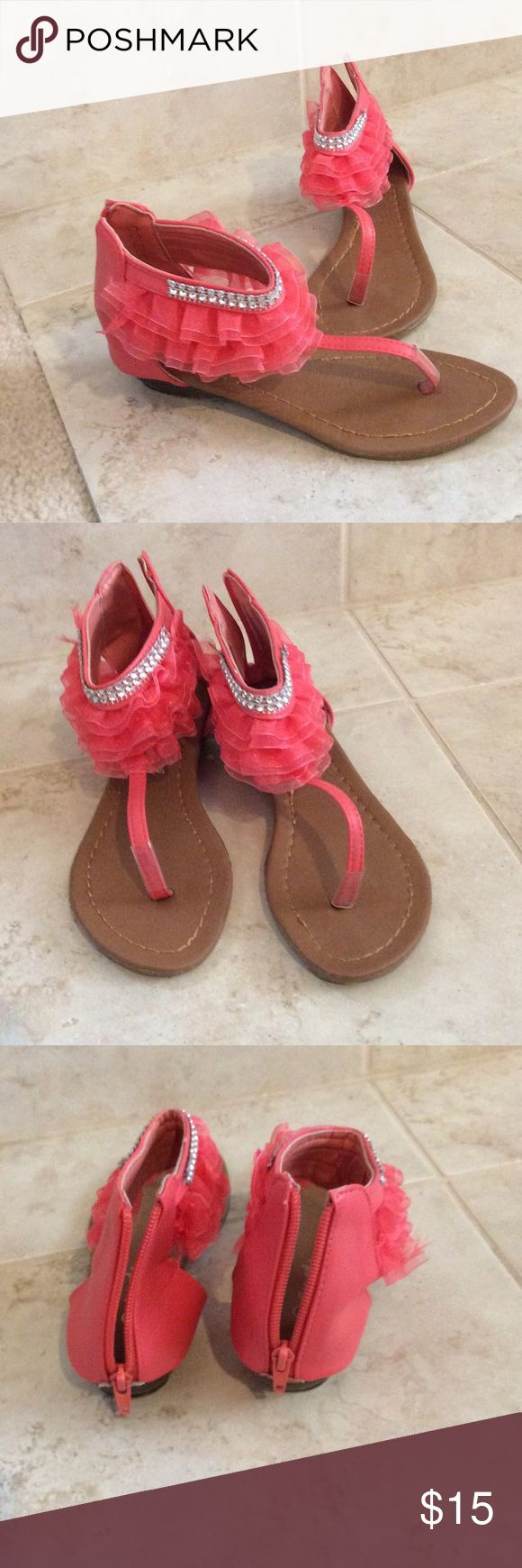 Coral Sandals Used Ameta Coral sandals with coral ruffles and ringtone accent. Shoes Sandals & Flip Flops
