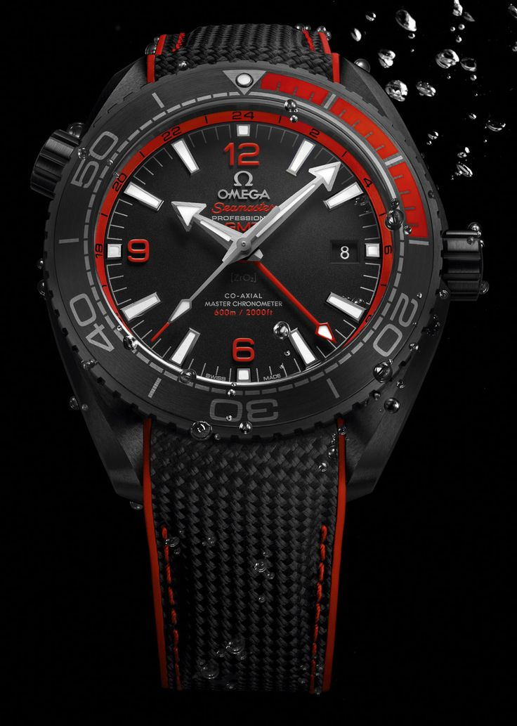 Omega Seamaster Planet Ocean GMT Deep Black Watches In Ceramic Watch Releases http://www.thesterlingsilver.com/product/police-mens-quartz-watch-with-black-dial-chronograph-display-and-black-leather-strap-14104js02/