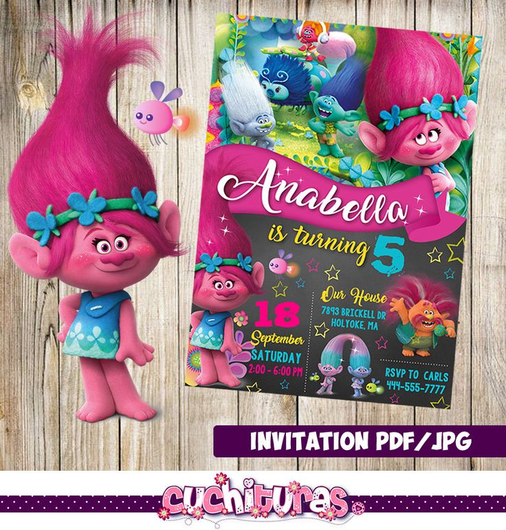 Trolls Invitation, Trolls Party, Trolls Birthday Invitation, Girl Trolls Invitation, Boy Trolls Invitation, Trolls Theme Printables by TusCuchituras on Etsy https://www.etsy.com/listing/263903885/trolls-invitation-trolls-party-trolls