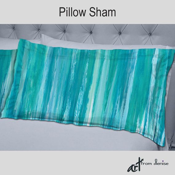 Abstract Decorative Pillow Shams Aqua Teal And Turquoise Blue Home Decor By Denise