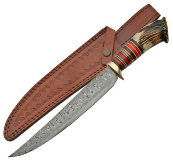DAMASCUS 15-1/2 in Bowie Hunting Knife Collectors Edition