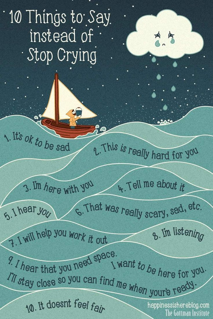 Positive ways to talk to your child. 10 things to say instead of 'stop crying'. Kayce Kennamann