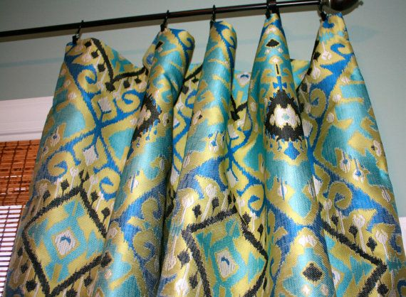 Curtain Panels In Turquoise And Brown Blue Turquoise Black Gold Jacquard Curtain Panel
