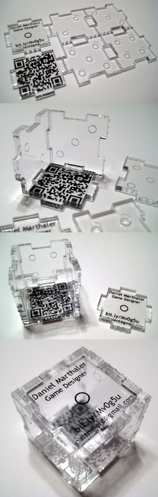 Sharra Culp and Daniel Marthaler created this acrylic business card which could be put together to make a 3 dimensional die.