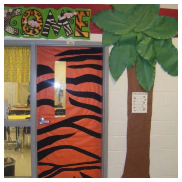Zebra Classroom Decor ~ Welcome door to a jungle themed class maybe do zebra