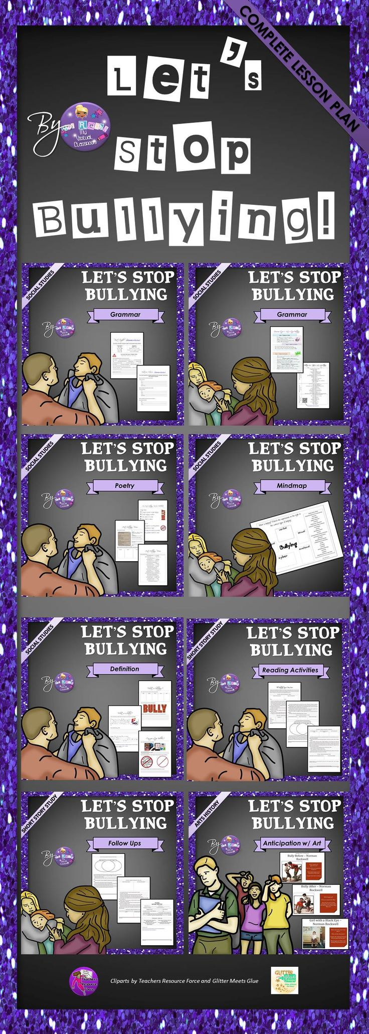 Stop #bullying, involve your students in this complete lesson plan (reading, writing, listening and speaking activities, art and grammar/vocabulary handouts)