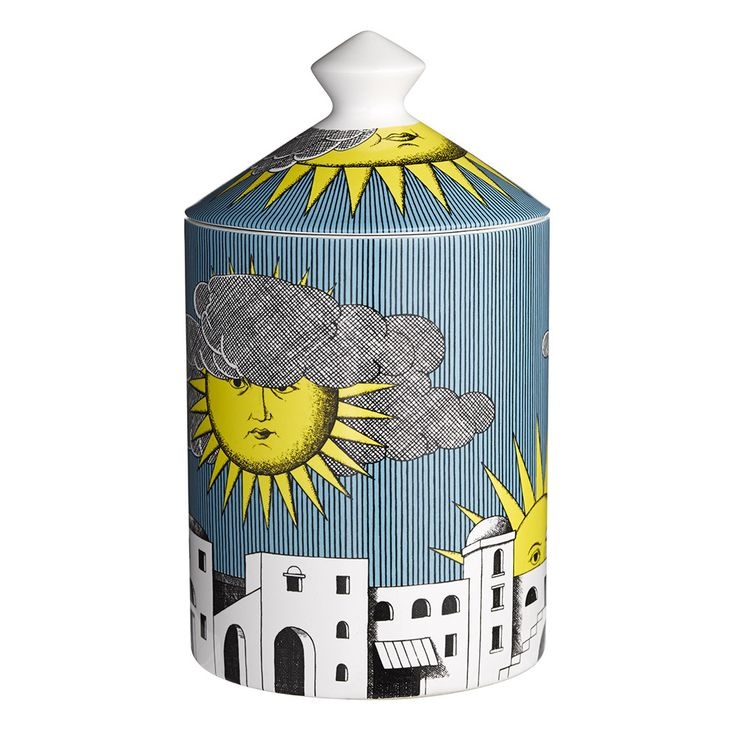 Transport yourself to a Mediterranean paradise with this Sole di Capri candle from Fornasetti. Encased in a ceramic vessel featuring the Sole di Capri design of suns & clouds floating blissfully in a
