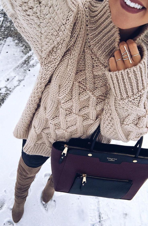 #winter #fashion /  Beige Wool Knit / Purple Tote Bag / Brown OTK Boots